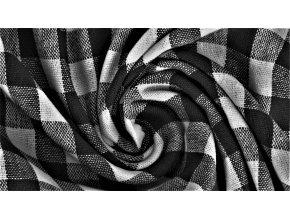 Bavlněné plátno - černo bílé káro 1cm