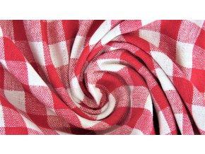 Bavlněné plátno - červeno bílé káro 1cm