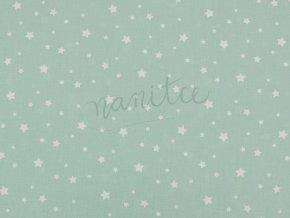 Bavlněné plátno - bílé hvězdičky na mentolové 31B