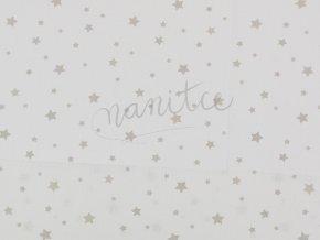 Bavlněné plátno - béžové hvězdičky na bílé 20B