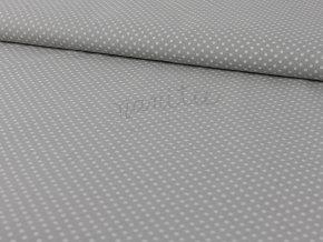 Bavlněné plátno - bílé puntíky na světle šedé 001