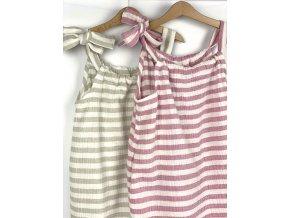 Dámské mušelínové šaty růžový proužek