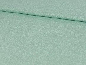 Bavlněné plátno - mintové s bílými tečkami 3B