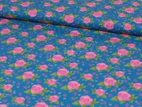 Bavlněný popelín - růžičky na modré