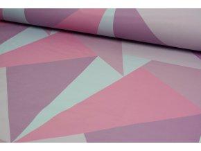 Softshell - geometrické tvary růžové