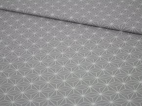 Bavlněné plátno - geometrické tvary na světle šedé