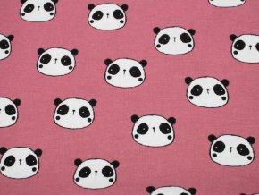 Flanel - růžový s pandami