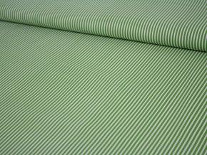 Bavlněné plátno - zelené s bílými proužky
