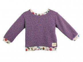 Dětská mikina fialový melír s barevnými náplety
