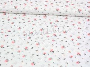 Bavlněný úplet -  růžičky na bílém
