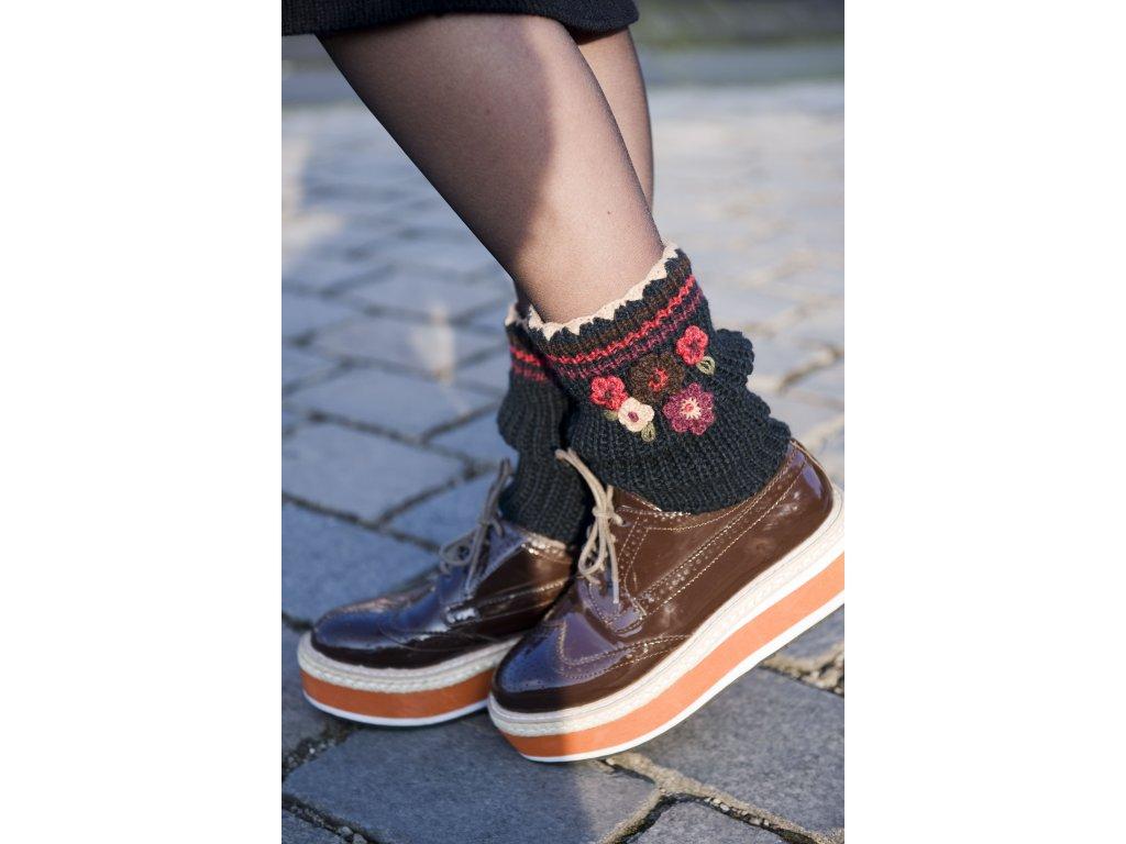 BN551701 Blooming short legwarmer Black Dark Brown