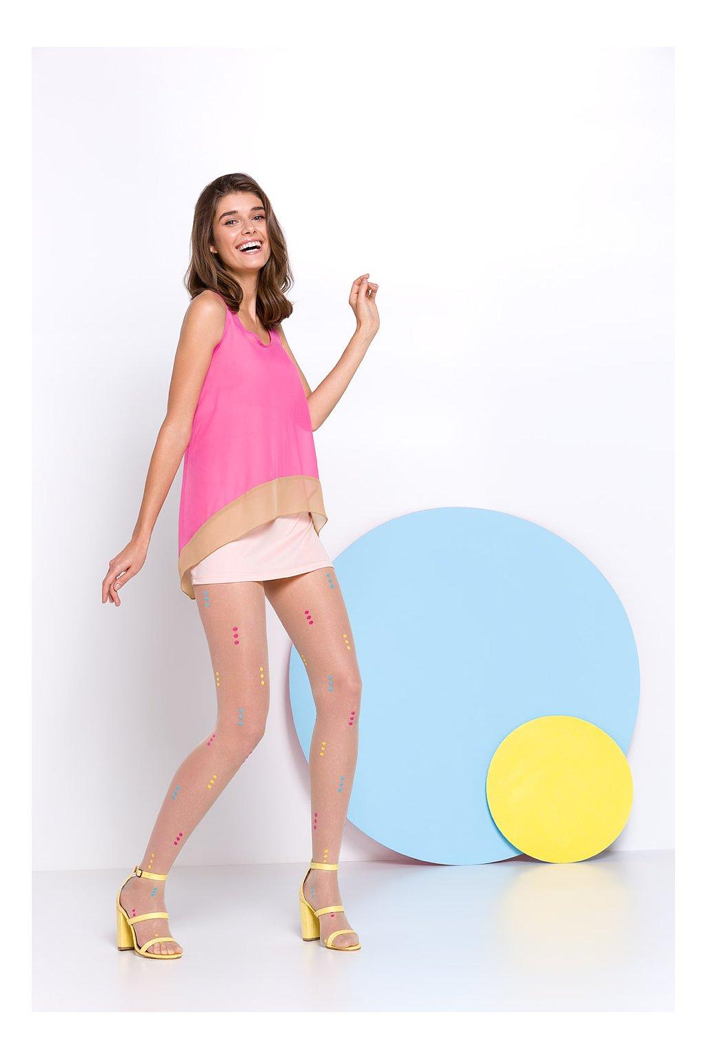 Tělové punčocháče s barevnými puntíky - Vivi