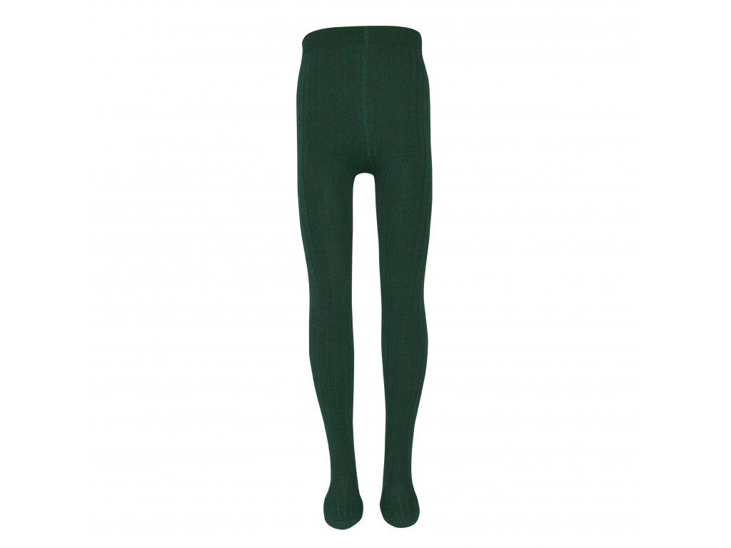 Jemně žebrované punčocháče Ewers - tmavě zelené