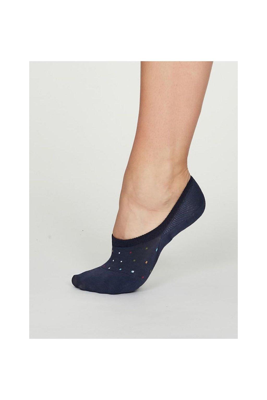 spw536 indigo blue ellen bamboo spot no show socks in indigo 1