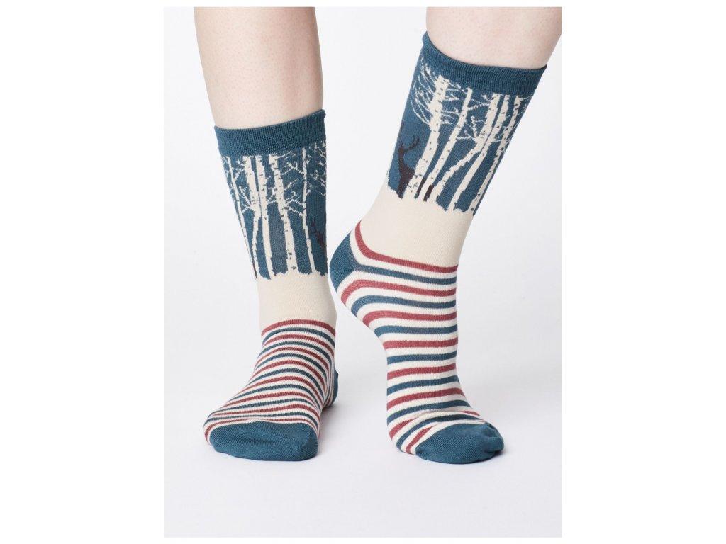 Bambusové ponožky Thought Jelen v lese - modré