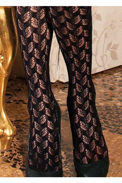 Bavlněné punčocháče se vzorem v černé barvě
