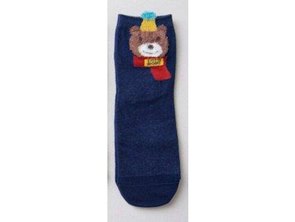 Ponožky Medvěd v čepici a šále - modrá a červená varianta