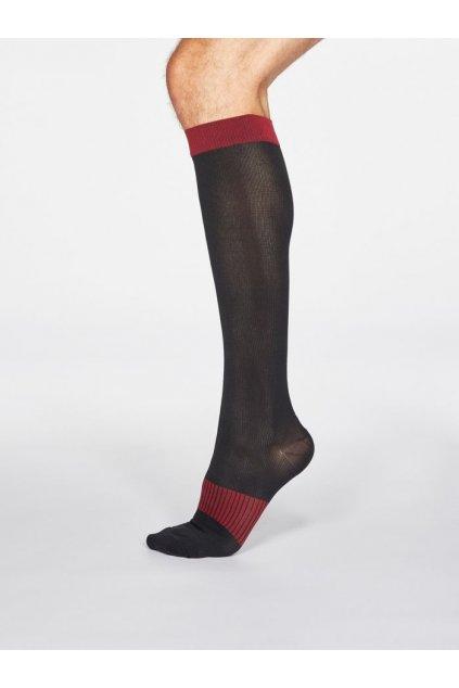 SPM666 BLACK Declan Spotty Recycled Nylon Flight Compression Socks in Black 1