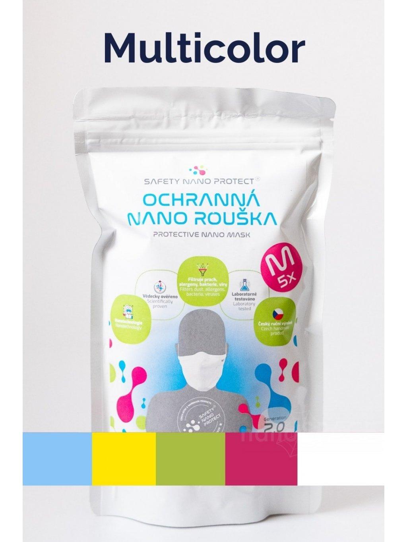 Multicolor roušky SAFETY NANO PROTECT  různě barevné balení