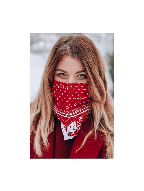 Antivirový šátek nanoSPACE - červený zimní  FFP2 dle dTestu