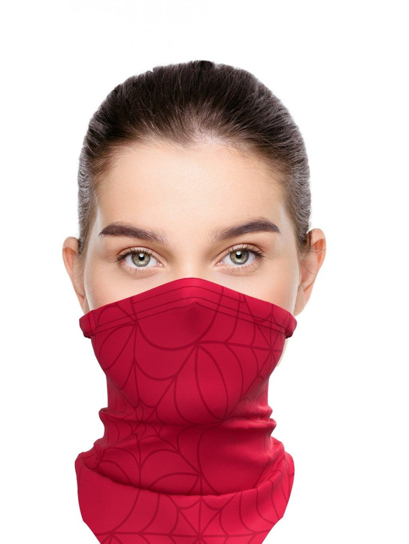Letní antivirový šátek nanoSPACE - červený  záchyt FFP2, letní verze