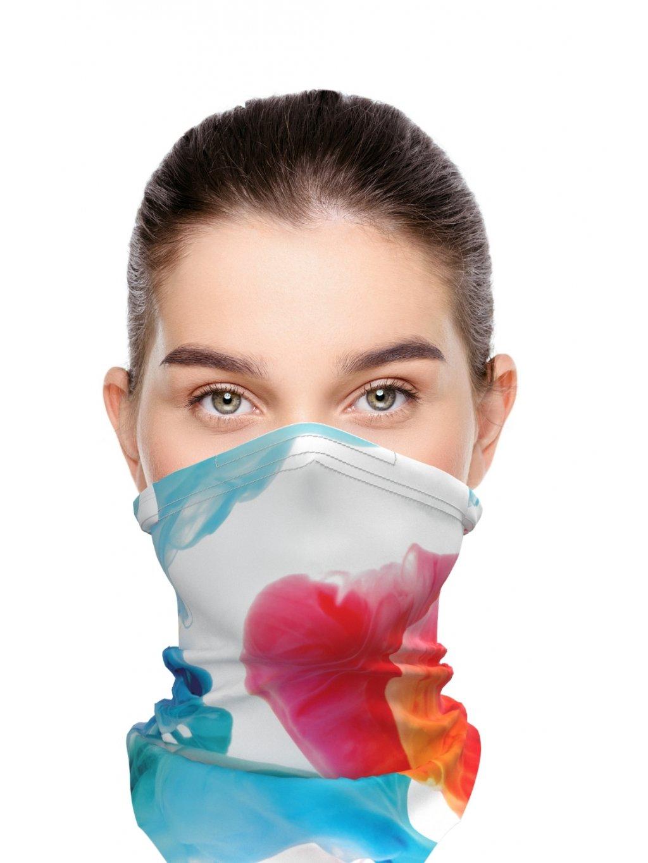 Letní antivirový šátek nanoSPACE - multicolor  záchyt FFP2, letní verze