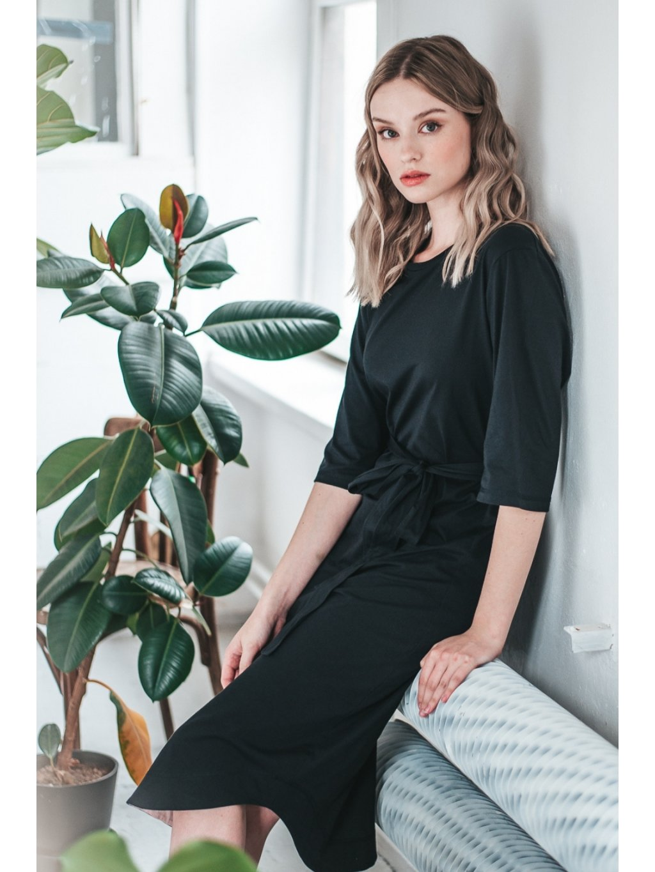 Černé minimalistické šaty TUNIQ – nanoSPACE by LADA (Velikost L)