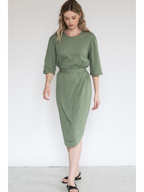 Khaki minimalistické šaty TUNIQ – nanoSPACE by LADA (Velikost L)