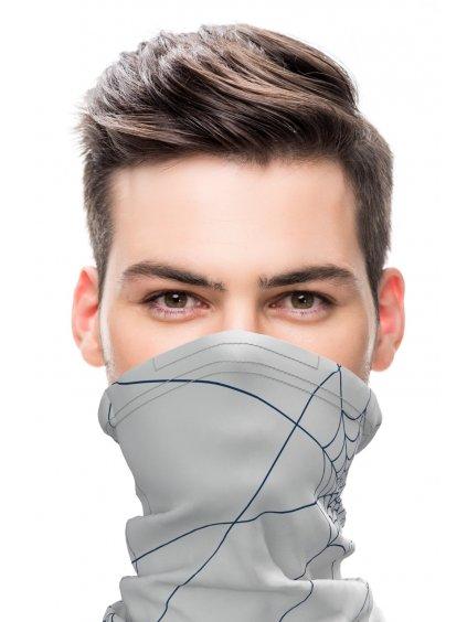 Antivirový šátek nanoSPACE - světle šedá  FFP2 dle dTestu