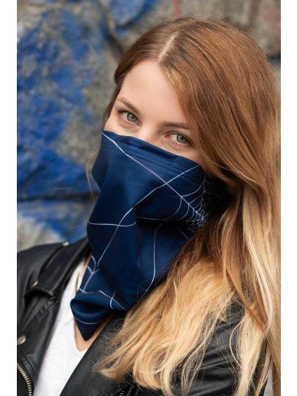 modrý antivirový šátek