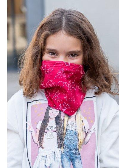 Dětský antivirový šátek nanoSPACE - lišky (Barva Modrá)