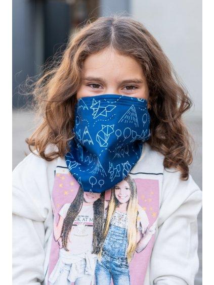 Dětský antivirový šátek nanoSPACE - lišky  vyměnitelný nosní klip