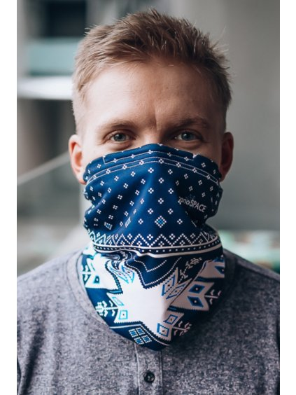 Antivirový šátek nanoSPACE - modrý zimní  FFP2 dle dTestu