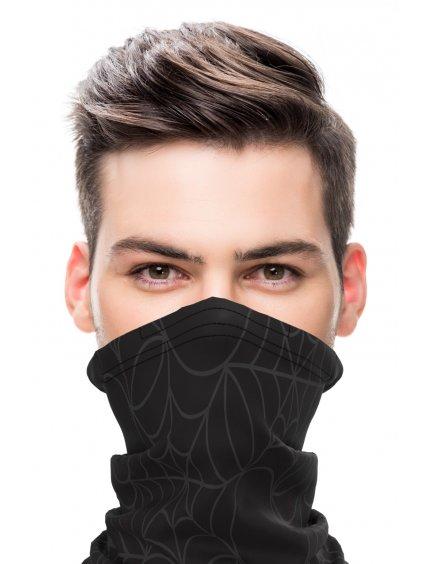 Letní antivirový šátek nanoSPACE - černý  FFP2 záchyt materiálu