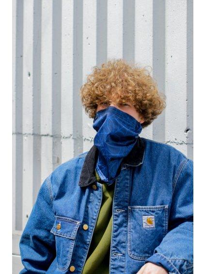 Letní antivirový šátek nanoSPACE - tmavě modrý  záchyt FFP2, letní verze