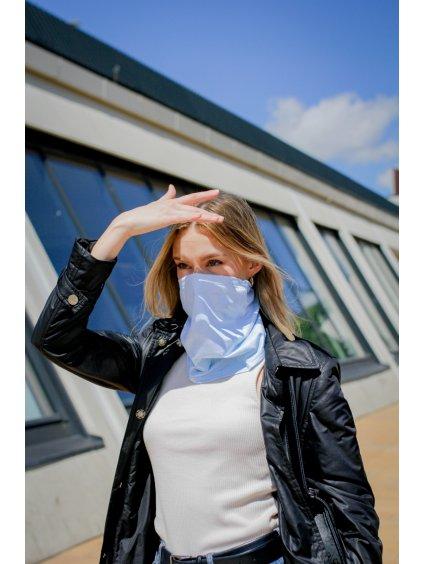 Letní antivirový šátek nanoSPACE - světle modrý  záchyt FFP2, letní verze