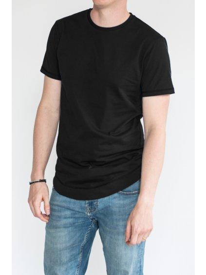 Černé minimalistické pánské tričko LUKAS - nanoSPACE by LADA (Velikost L)