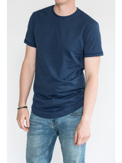 Modré minimalistické pánské tričko LUKAS - nanoSPACE by LADA (Velikost L)
