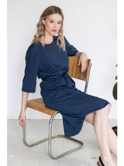 Modré minimalistické šaty TUNIQ – nanoSPACE by LADA (Velikost L)