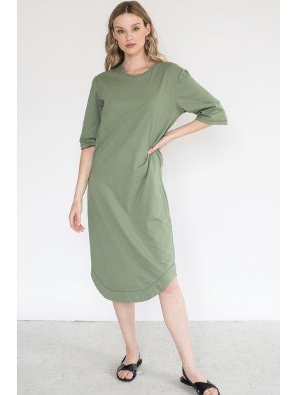 Khaki minimalistické šaty TUNIQ – nanoSPACE by LADA