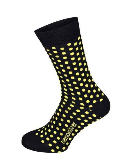 Společenské ponožky černé se žlutými puntíky