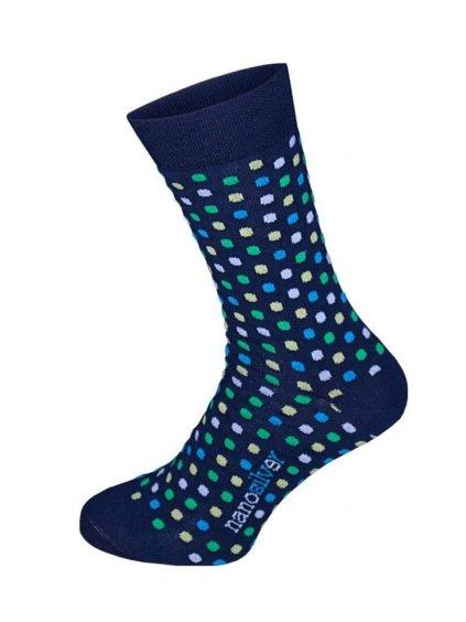 Společenské ponožky modré s barevnými puntíky