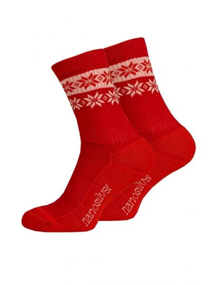 Zimní ponožky thermo SNOW červená/bílá (Velikost L 43/46)
