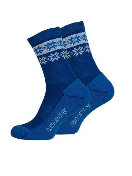 Zimní ponožky thermo SNOW modrá/bílá (Velikost L 43/46)