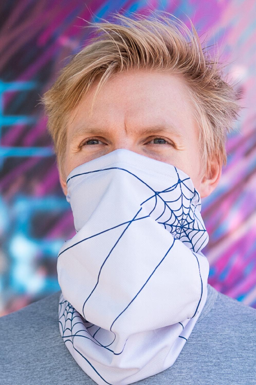 Antivirový šátek nanoSPACE - světle šedá Nová verze: vyměnitelný nosní klip