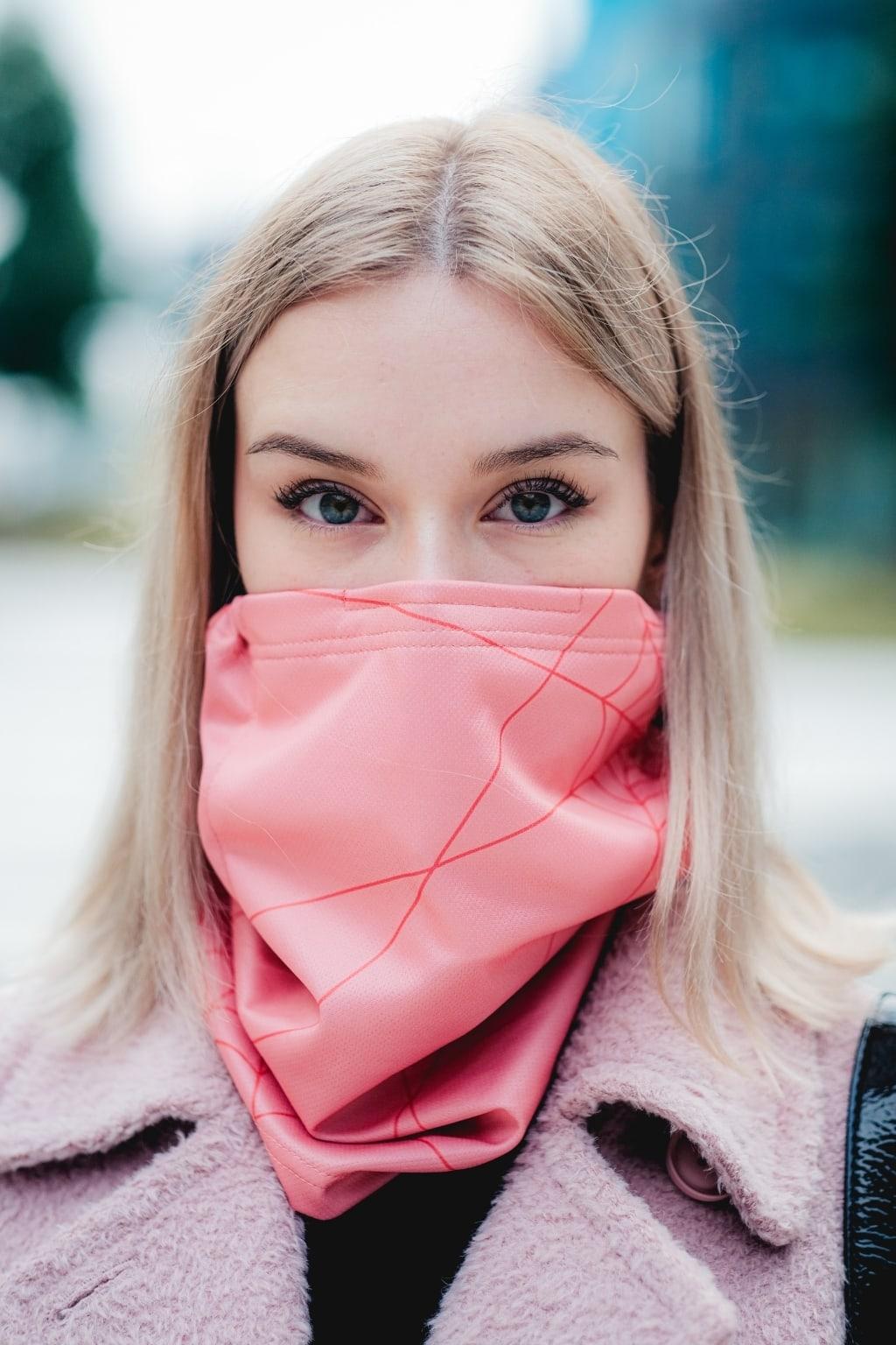 Antivirový šátek nanoSPACE - růžová Nová verze: vyměnitelný nosní klip