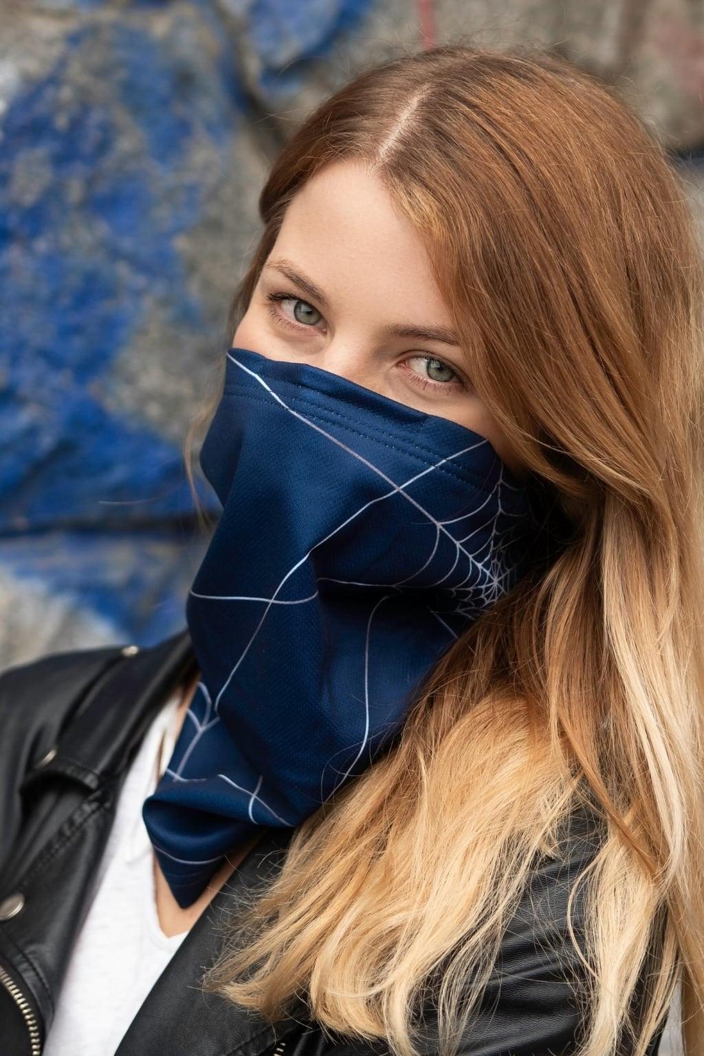 Antivirový šátek nanoSPACE - modrý Nová verze: vyměnitelný nosní klip