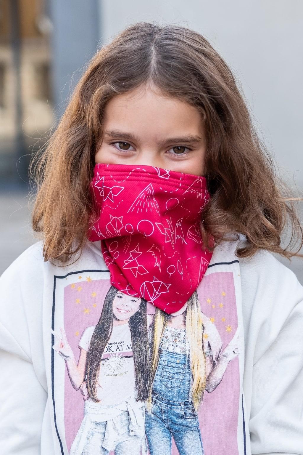 Dětský antivirový šátek nanoSPACE - lišky Barva: Růžová vyměnitelný nosní klip