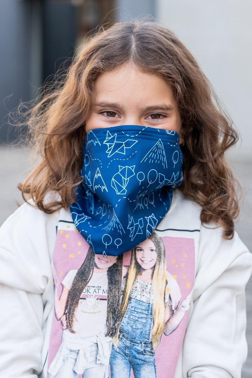 Dětský antivirový šátek nanoSPACE - lišky Barva: Modrá vyměnitelný nosní klip