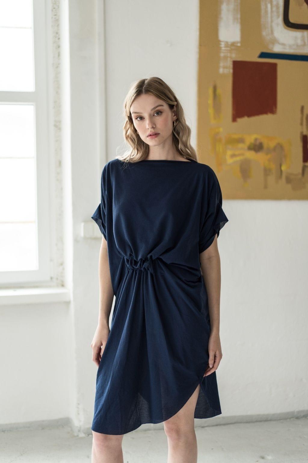 Levně Modré Designové šaty Summer Eagle – nanoSPACE by Lada